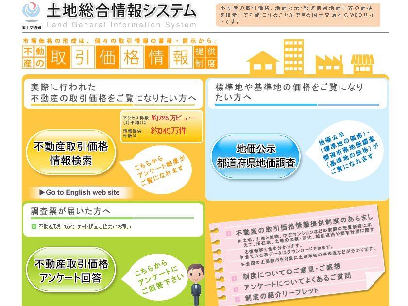 国土交通省「土地総合情報システム」のwebサイトトップページ